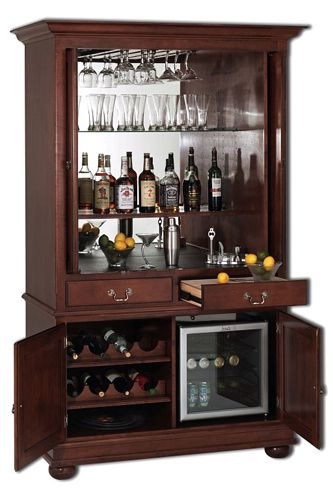 Wine Bar Cabinet Furniture | Kelly Bar Cabinet Dimensions: w x d x h Finish: 80H x 46W x 24.5D plus ...