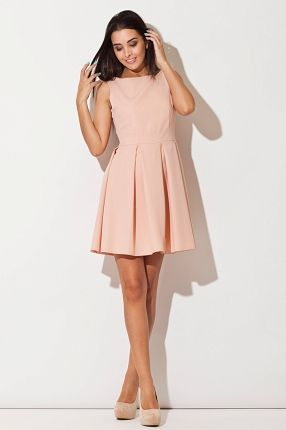 Sukienka Skater With Pleated Skirt - Pink