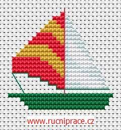 Rowboat, cross stitch, patterns, free cross stitch patterns and charts - www.free-cross-stitch.rucniprace.cz