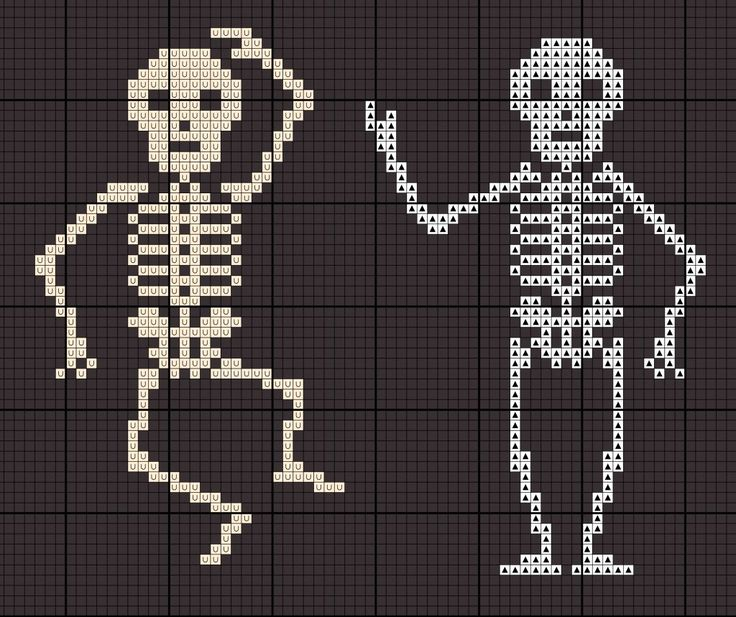 cross stitch chart for skeletons pattern                                                                                                                                                                                 More