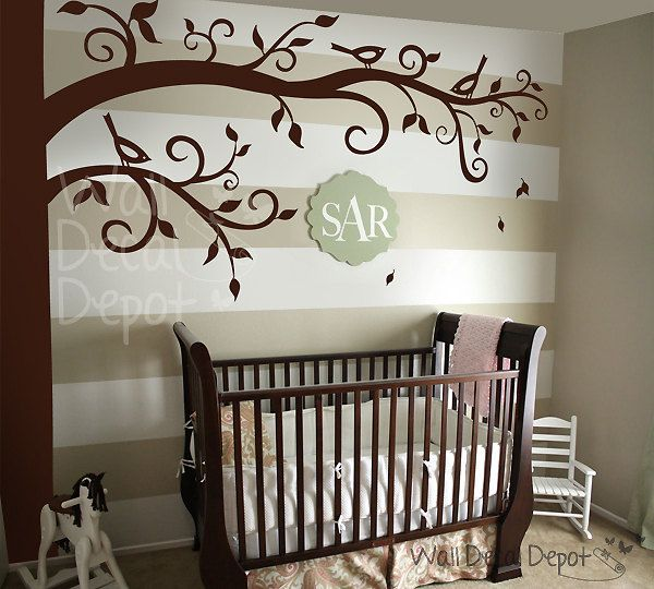Wall Decal Wall Sticker nursery for frame hanging - Corner Tree decal - 33. $110.00, via Etsy.