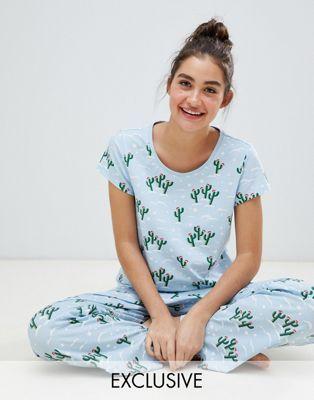 f5626cc0f8 Monki xmas cactus jersey pyjama set in blue