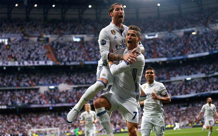 Download wallpapers Sergio Ramos, Cristiano Ronaldo, football, Real Madrid, 4k, La Liga, Spain