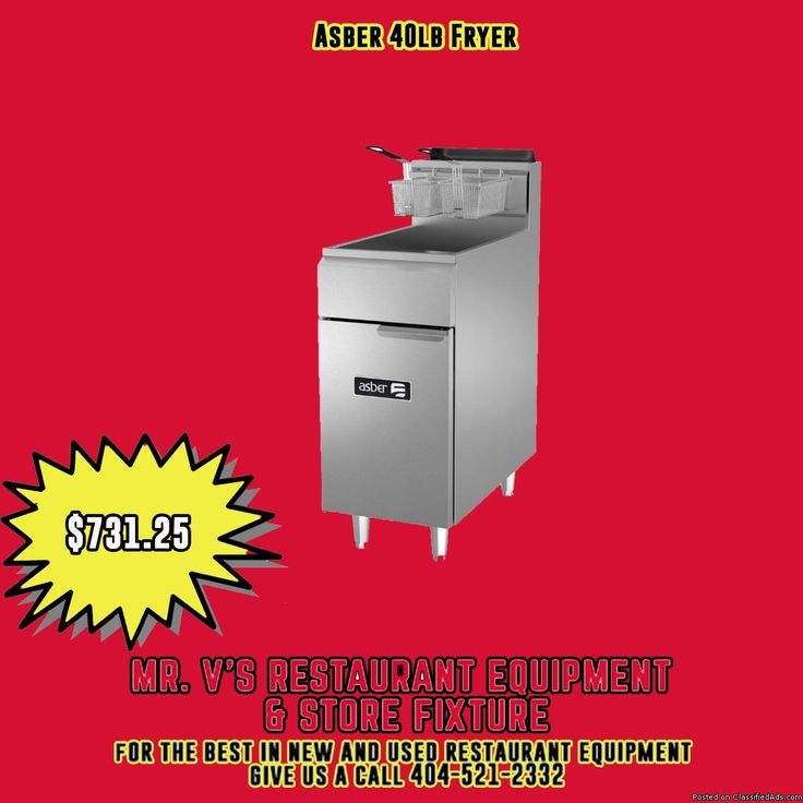 Limited time offer Asber 40LB Fryer was $1000 now only $731 the best in new and used restaurant equipment give us a call 404-521-2332 or come by to Mr.V's Restaurant Equipment 510 Jones Ave. NW Atlanta,GA 30314.For More Info click link http://bit.ly/2lizXI10For
