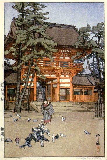 Gion Shrine Gate  by Hiroshi Yoshida, 1935