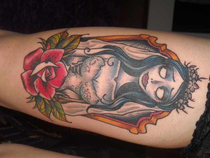 Corpse Bride on thigh-Gin Hicks @ Timmy Tattoo