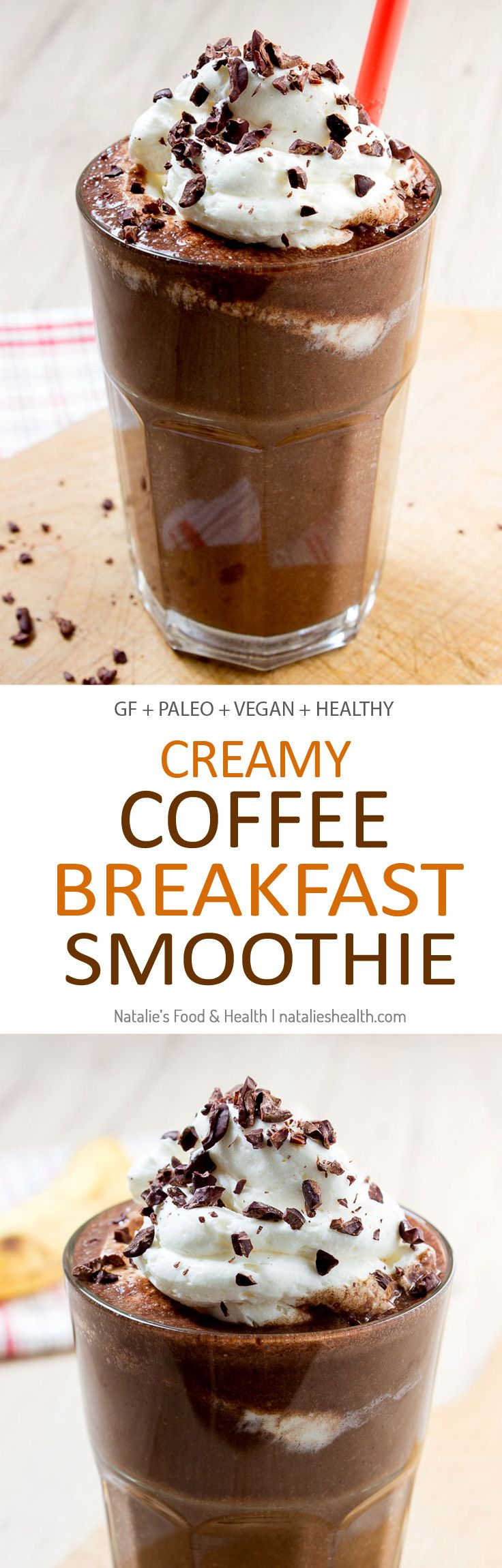 Creamy and energizing Coffee Breakfast Smoothie full of dark chocolate and coffee flavors. This smoothie is full of nutrients. Perfect meal to start the day!