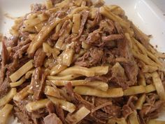 Beef and Noodles. Family loves this dish. Put onions in noodles when boiling. Will put on mashed potatoes next time. SS