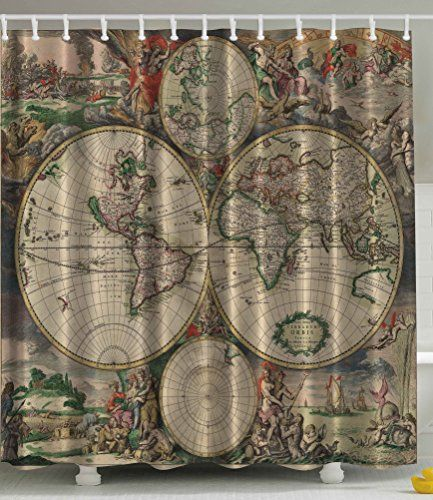 139 best images about bathroom remodeling on pinterest toilets vintage maps and small showers - Old world map shower curtain ...