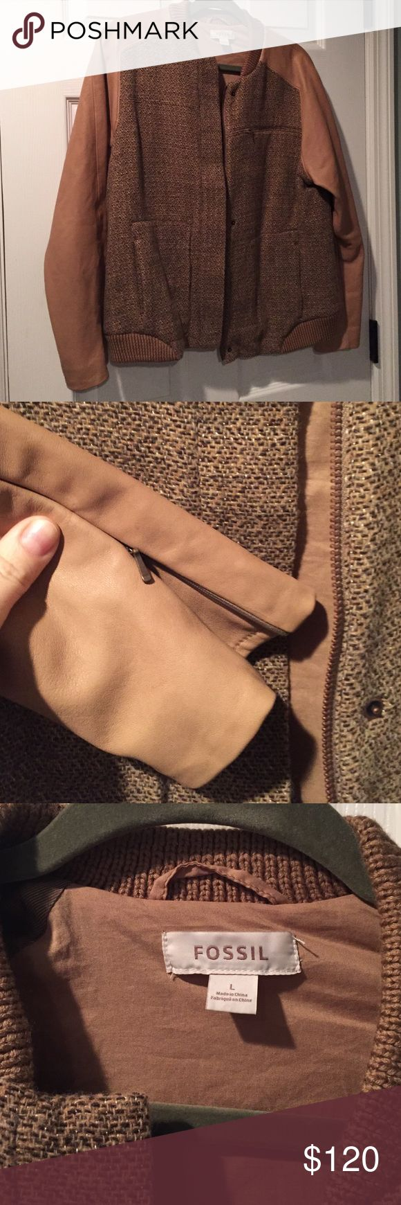 Tweed and Leather Bomber Buttery soft leather bomber jacket Fossil Jackets & Coats