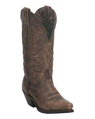 Dan Post Women's Antique Brown Wide Calf Snip Toe Western Boot