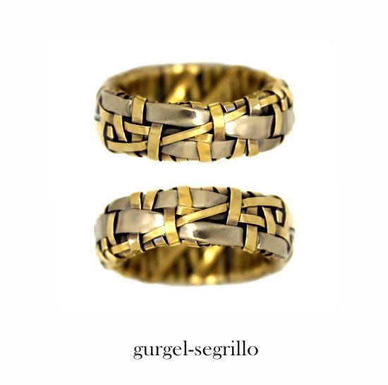 'woven' series partnership rings - celebrating Love and our interconnectedness ~ ring bands created by Irish-Brazilian artist designer maker Gurgel-Segrillo