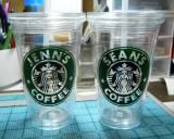 Cricut Vinyl Project using Make The Cut  - Free Starbucks-like SVG file to personalize graphic