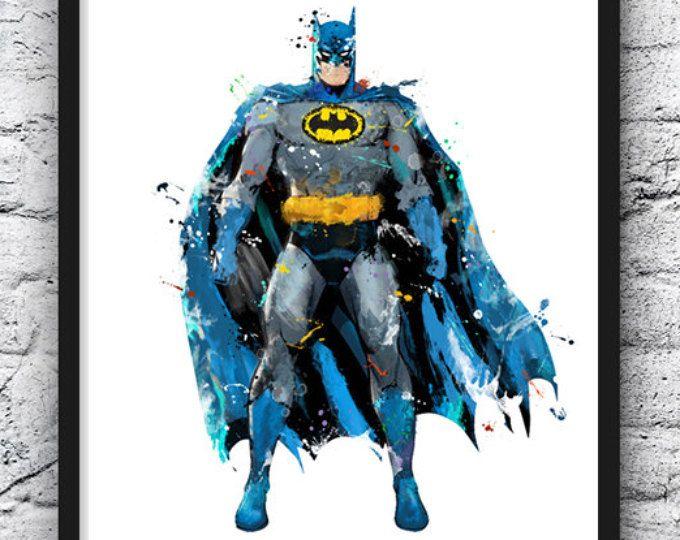 Imprimir acuarela de Batman, superhéroe arte, cartel de película, Liga de la justicia, DC Comics, arte, decoración para el hogar de pared, Kids Room Decor, decoración cuarto de niños - 585