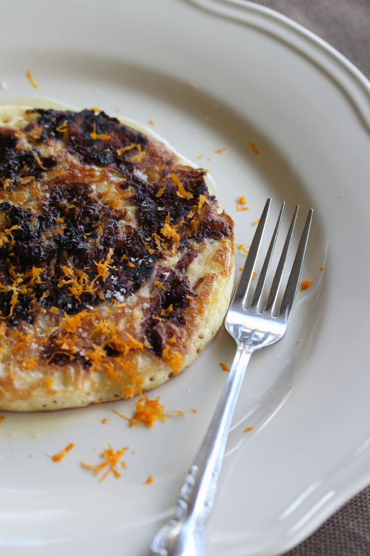 EVOO and Sea Salt chocolate pancakes with orange zest…A jaffa ona breakfast plate. #WhatsForBreakfast? ebook available at http://tenina.com/store