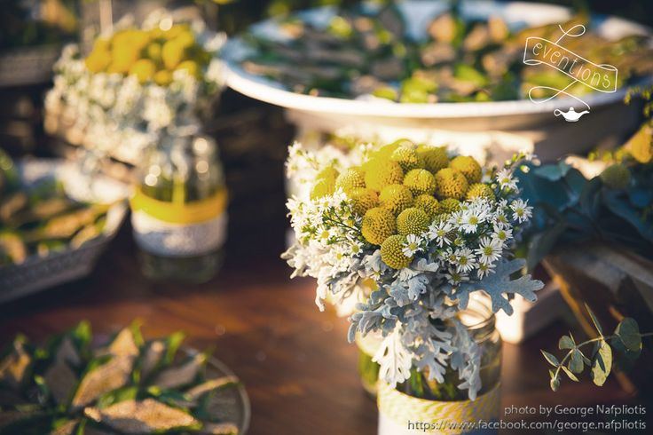 Craspedia & chamomiles for these jars tied with ropes & ribbons; lemon themed wedding in Athens!