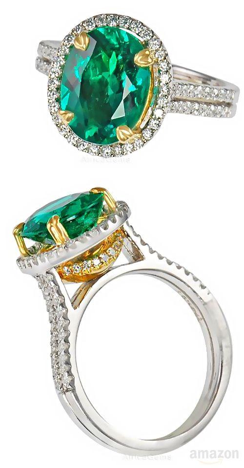 Vibrant Green Gem Emerald set in a Pave Diamond Designer Ring - 2 Tone 18 kt Gold