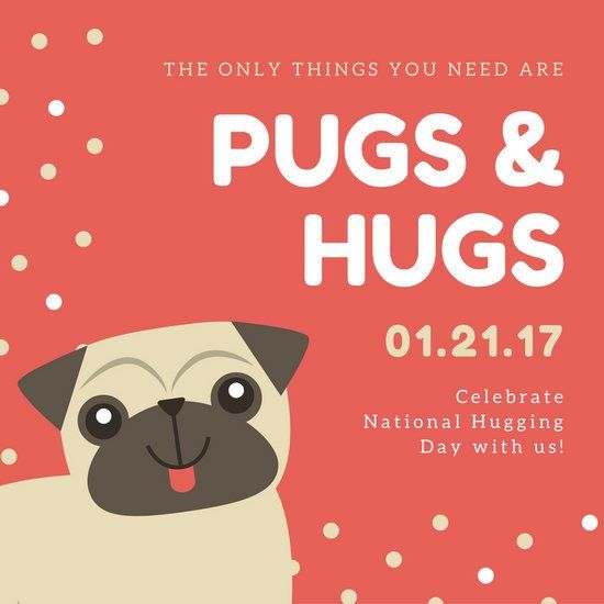 Red Illustrated Dog National Hugging Day Social Media Graphic
