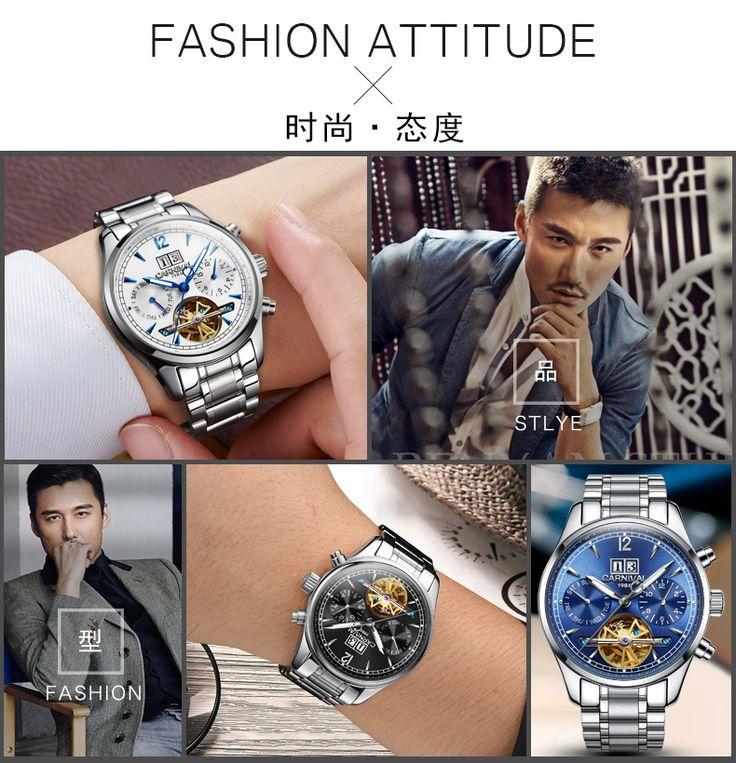 2017 Venta Caliente CARNAVAL De Luxo Relogio masculino Relojes Para Hombre de Primeras Marcas de Lujo reloj de Acero Inoxidable Tourbillon Masculino Automatico envíos gratuitos en todo el mundo