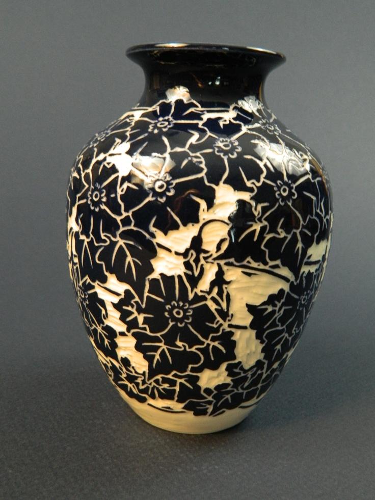 Wild Rose Vase Sgraffito Technique Using Cobalt Slip On