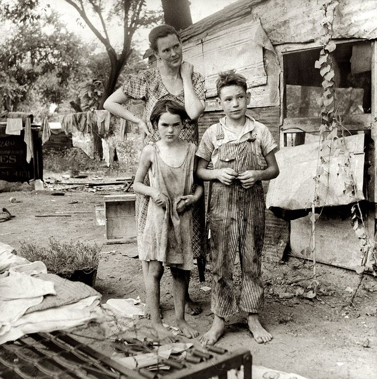 "Elm Grove. August 1936. ""People living in miserable poverty. Elm Grove, Oklahoma County, Oklahoma."" Medium-format nitrate negative by Dorothea Lange for the Farm Security Administration."