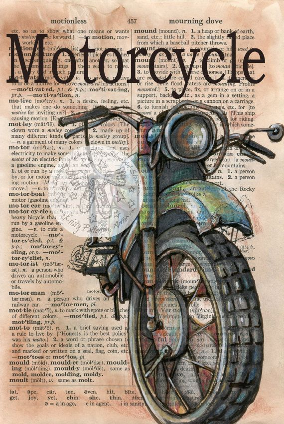 PRINT: Motorcycle Mixed Media Drawing on Distressed, Dictionary Page