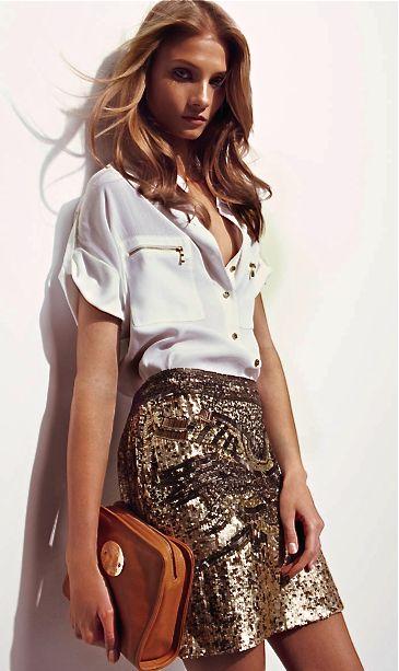 Spanish designer Adolfo Domínguez Fernández// white top & sequin skirt