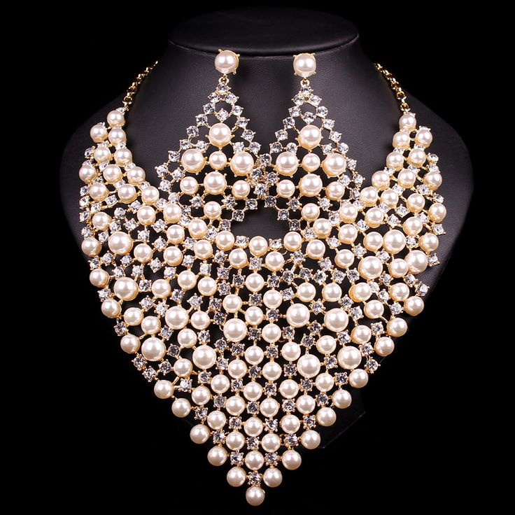Gorgeous Bridal Jewelry Sets Wedding Pearl Necklace Earring For Brides Party Accessories Gold Plated Decoration Gift For Women