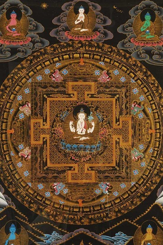 曼陀羅 - Mandala. A symbolic representation using visual and Buddha, symbols, characters, and the gods Zen sanctuary, the enlightenment of Buddha, Buddhism and in view of the world.