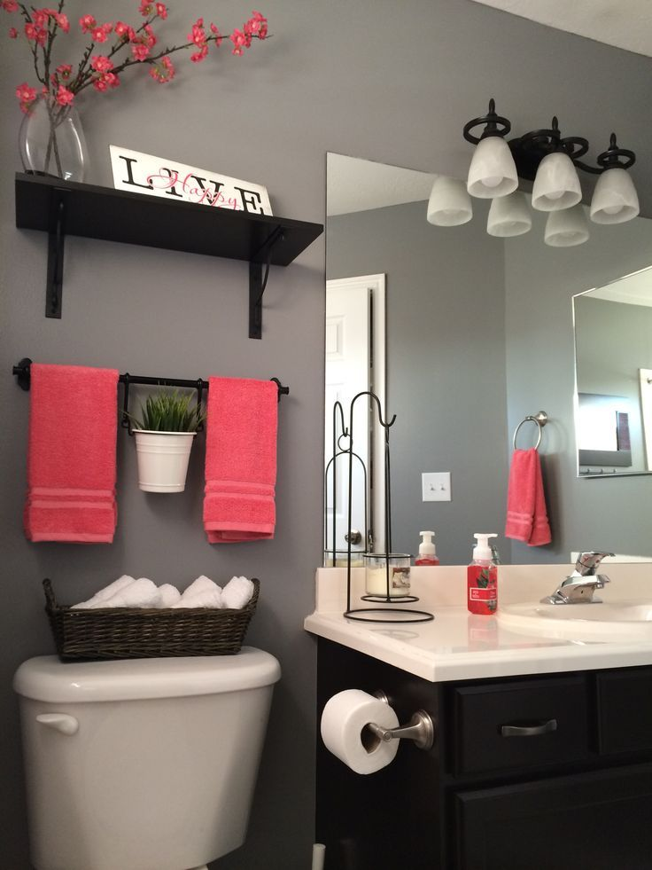 Pink and Grey Bathroom Decor
