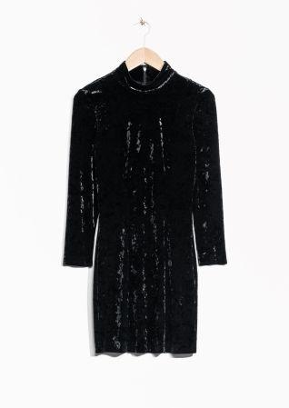 & Other Stories   Turtleneck Velvet Dress
