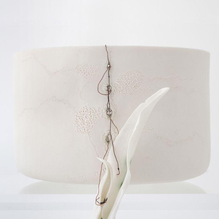 organic bowls - particular - porcelain, paperclay porcelain, copper wire