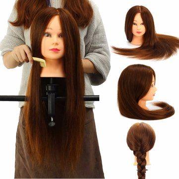 100% Real Human Hair Mannequin Head Salon Hairdressing Training Model Clamp Holder