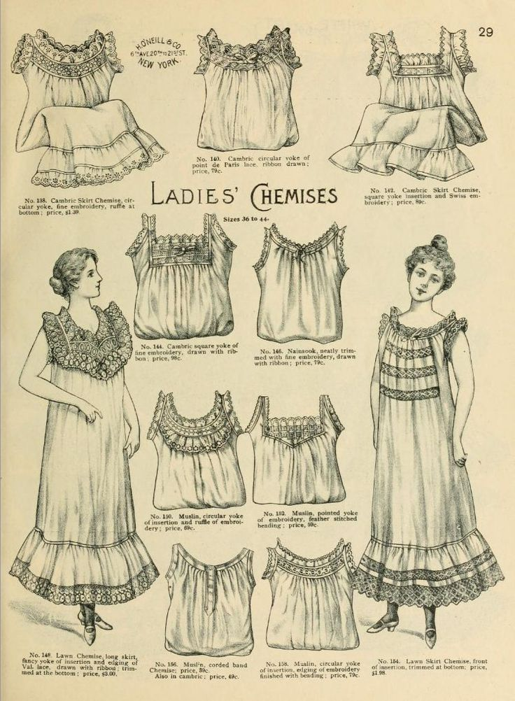 1898 Vintage Fashion - H.O'Neills Spring & Summer Catalogue Page 29 - Victorian Ladies Chemises