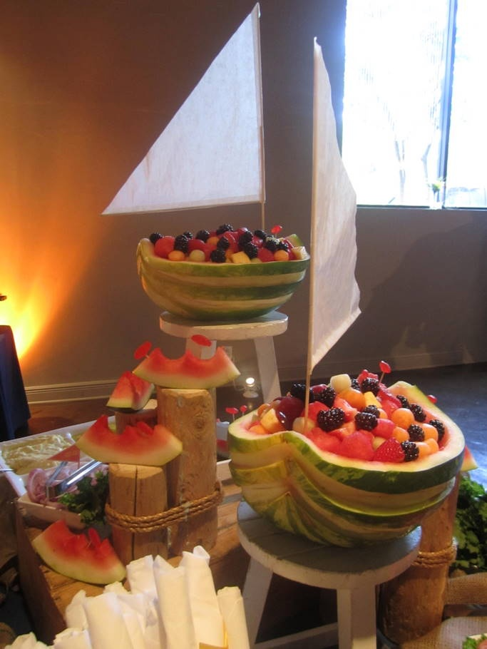 Watermelon Boats for the Nautical Theme, with fresh Tropical Fruit and Swedish Fish Accents