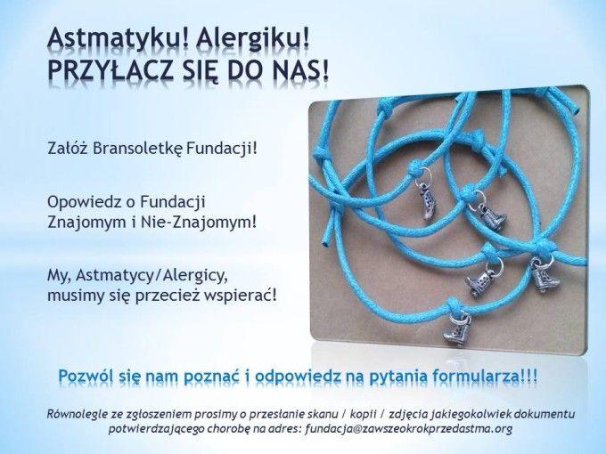 Nasza Bransoletka - Zawszeokrokprzedastma.org Przyłącz się do nas! #astma #alergia #bransoletka