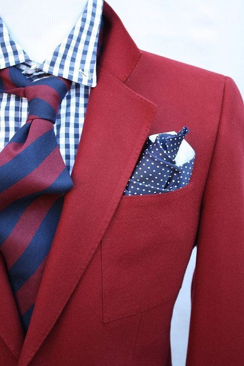 Classic red and navy repp striped tie + gingham shirt + bold red blazer + pin dot pocket square