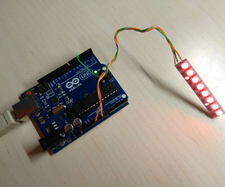 In this tutorial we will use one strip with 8 RGB LEDs with the Arduino uno board. We will use the Adafruit's NeoPixel library to change the color of each led.Let's get started!