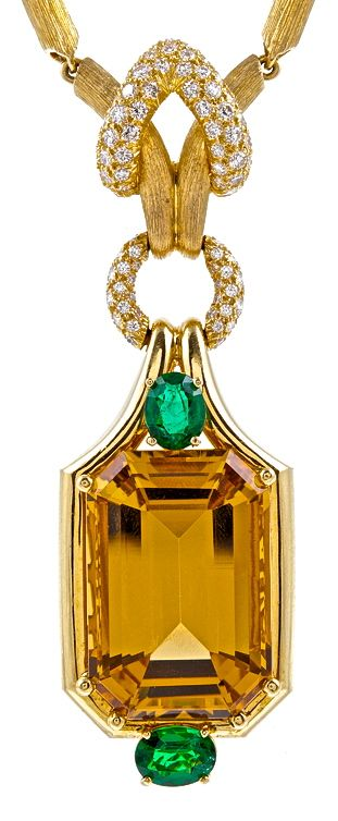 Henry Dunay ~ Citrine, Emerald & Diamond Pendant Necklace one of my favorite designers.