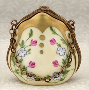 Limoges Cream Purse with Flowers and Gold Box The Cottage Shop