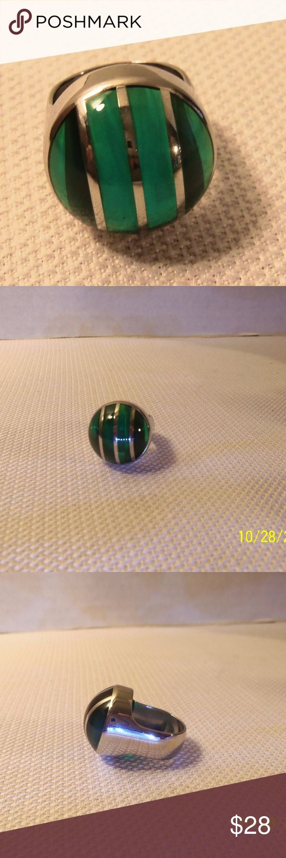 Swatch Bijoux Color Cut Sky Green Ring Size 5 Lovely gently used ring. Model JRS0004-5 from year 2001.  316L Stainless steel with resin Swatch Jewelry Rings