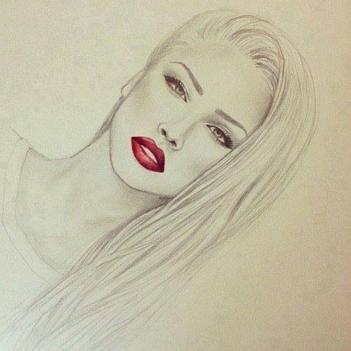 Red Lipstick, Girl Drawing