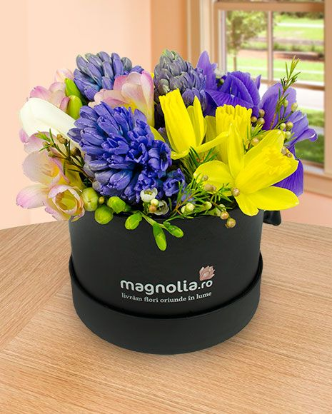 Aranjament floral cu zambile, narcise si frezii.  Flower arrangement with Hyacinth, Daffodils and Freesias
