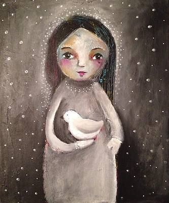 NFAC-Feb-Black-White-Whimsical-Girl-Dove-Stars-Space-Original-Art-Painting