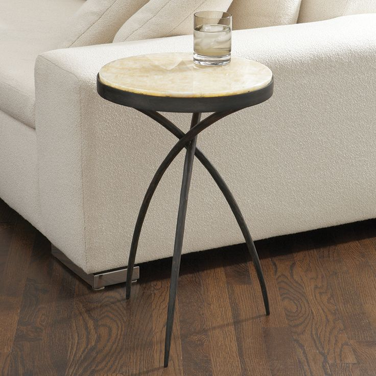 Tripod Drink Table with Hand Forged Iron Base