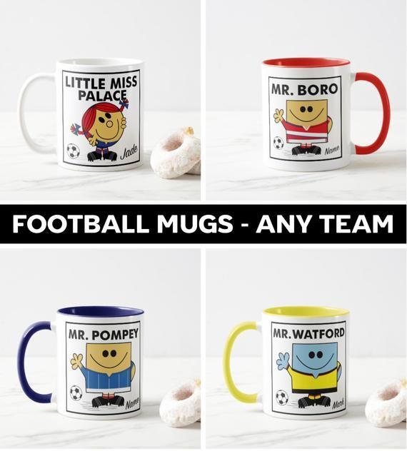 Football Mugs Any Team Personalised Etsy Mugs Football Personalised