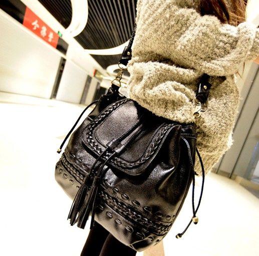 New Style Women Solid Zipper Black PU Shoulder Bag