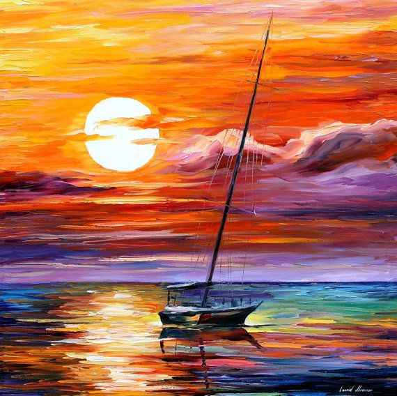 Far And Away — PALETTE KNIFE Seascape Yacht Sailing Oil Painting On Canvas By Leonid Afremov