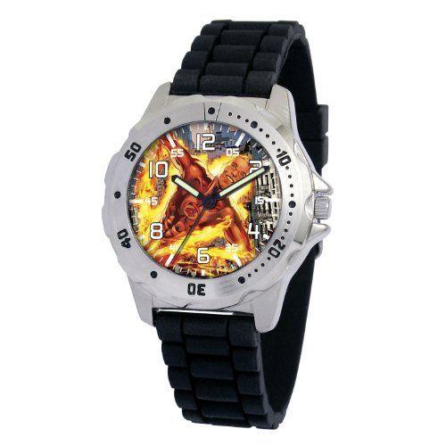 "Marvel Comics Men's MA0710-D168-BlackRubber Marvel 'Human Torch' Defender Watch Marvel Comics. $17.48. Case diameter: 40.00 mm. Marvel character featured on dial. Men's Marvel ""Defender"" Watch. Uni-directional rotating bezel. Water-resistant to 99 feet (30 M). Save 50%!"