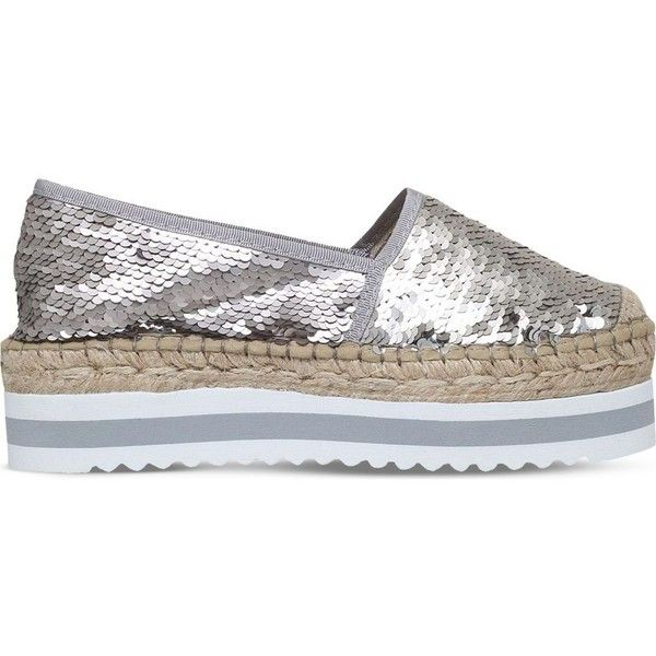 CARVELA Koko sequin flatform espadrilles ($135) ❤ liked on Polyvore featuring shoes, sandals, round cap, carvela shoes, slip-on shoes, slip on sandals and round toe shoes